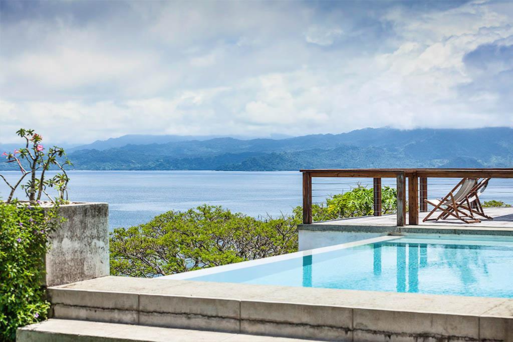 infinity pool overlooking savusavu bay